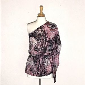 Very J Womens Top S Black White Pink Mauve Gray